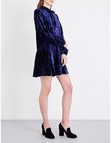 Anna Sui Neck tie crushed-velvet mini dress