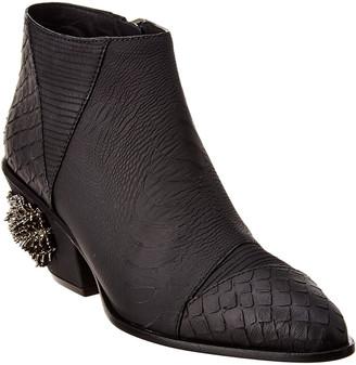 Giuseppe Zanotti Kevan Alligator Jewel Embellished Leather Bootie