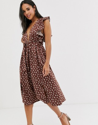 Glamorous plunge front midi dress with ruffle shoulders in smudge spot