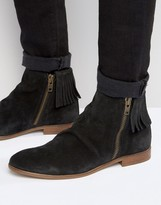 Asos Chelsea Boots With Fringing In Black Suede
