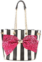 Betsey Johnson Bow-Lesque Sequined Striped Bucket Bag