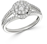 Bloomingdale's Cluster Diamond Split Shank Ring in 14K White Gold, 0.75 ct. t.w. - 100% Exclusive