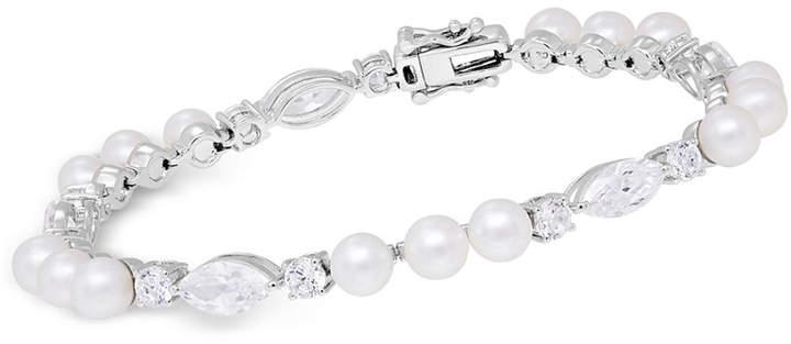 Arabella Cultured Freshwater Pearl (5mm) & Swarovski Zirconia Bracelet in Sterling Silver