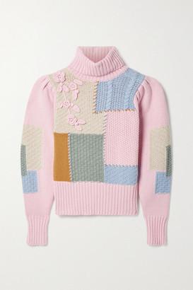 LoveShackFancy Allan Appliqued Patchwork Knitted Turtleneck Sweater - Pink