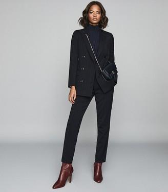 Reiss Bree Jacket - Pinstripe Slim Fit Blazer in Navy