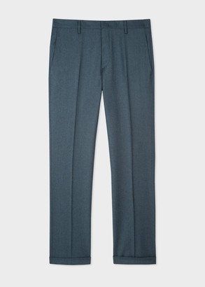 Men's Slim-Fit Petrol Wool-Cashmere Trousers