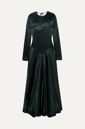 Ganni Printed Satin Maxi Dress - Black