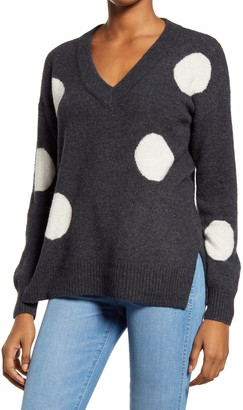 Madewell Dotted Bartlett V-Neck Pullover Sweater