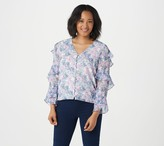 Vince Camuto Tiered Ruffle Long-Sleeve Charming Floral Blouse