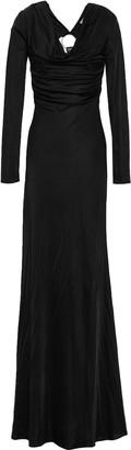 Roberto Cavalli Embellished Cutout Jersey Maxi Dress