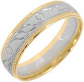 JCPenney MODERN BRIDE 10K Two-Tone Gold Womens Engraved Milgrain 5mm Wedding Band