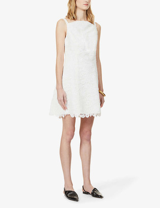 Carolina Herrera High-neck sleeveless guipure-lace mini dress