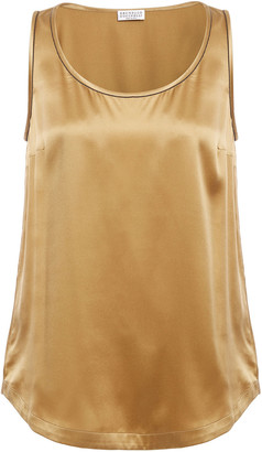 Brunello Cucinelli Bead-embellished Silk-blend Satin Tank
