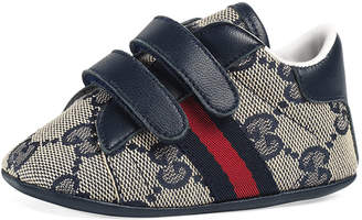 Gucci New Ace GG Canvas Grip-Strap Sneaker, Baby
