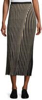 Helmut Lang Ribbed Striped Midi Skirt, Black