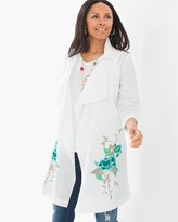 Chico's Long Floral-Embroidered Jacket