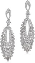 Kenneth Jay Lane Cz By CZ by Rhodium Vintage Look Pave Drop Earrings KE1312