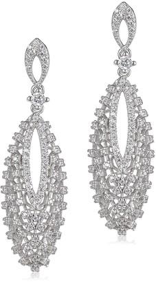 Kenneth Jay Lane CZ by Rhodium Vintage Look Pave Drop Earrings KE1312