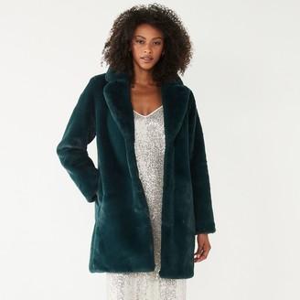 Nine West Women's Long Faux-Fur Jacket