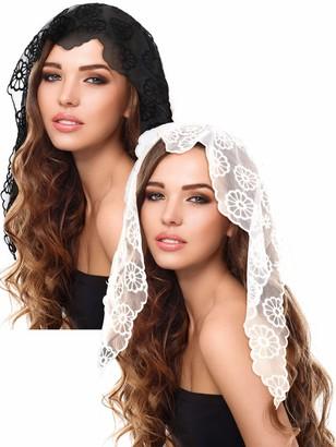 Boao 2 Pieces Floral Lace Veils Head Covering Latin Mass Mantilla Veils Short Scarf for Bridal Women (Color Set 2)