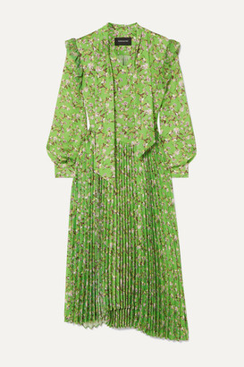 ANDERSSON BELL Scarf-detail Pleated Floral-print Crepe Midi Dress - Green
