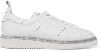 Golden Goose Deluxe Brand Starter Glitter-trimmed Leather Sneakers