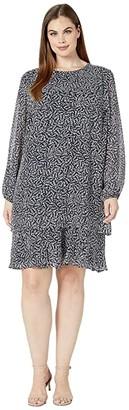 Lauren Ralph Lauren Plus Size Print Georgette Dress (Lighthouse Navy/Colonial Cream) Women's Clothing