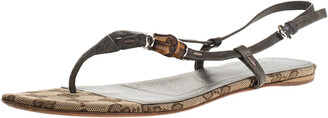 Gucci Grey Leather Bamboo Icon Thong Flat Sandals Size 38