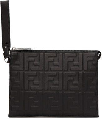 Fendi Black Forever Embossed Pouch