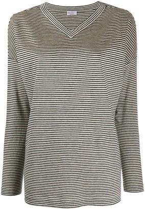 Brunello Cucinelli striped v-neck T-shirt