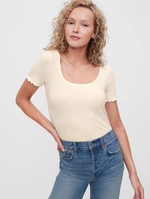Gap Fitted Pointelle Squareneck Shirt