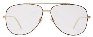Gucci Tortoiseshell-effect Aviator-frame Glasses - Mens - Gold