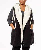 Hue Plus Size Sleeveless Hooded Robe