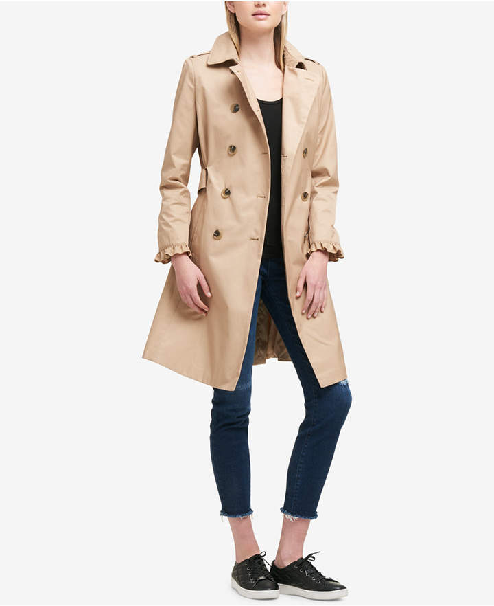 DKNY Belted Ruffle-Sleeve Trenchcoat