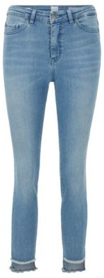 BOSS Skinny-fit jeans with frayed-hem detail