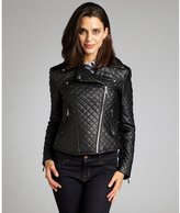 black quilted faux leather asymmetrical zip cropped moto jacket