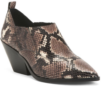 Snake Embossed Leather Ankle Booties