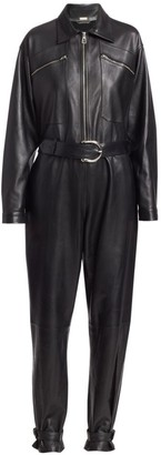Dodo Bar Or Barbara Long-Sleeve Leather Jumpsuit