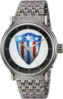 Marvel Men's 'Captain America' Quartz Metal and Alloy Casual Watch, Color:-Toned (Model: WMA000019)