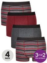 Very 4 Pk Burg Stripe Trunks Multi