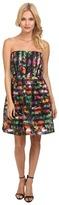 Yumi Stripey Floral Organza Prom Dress w/ Detachable Adjustable Strap