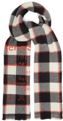 Acne Studios Cassiar Logo-print Checked Wool Scarf - Mens - Black Multi