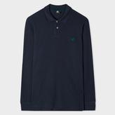 Paul Smith Men's Slate Grey Embroidered PS Logo Long-Sleeve Polo Shirt