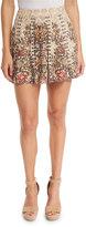 Haute Hippie Sagat Floral Silk Mini Skirt, Talitha