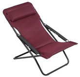 Lafuma Transabed XL Plus Air Comfort Black Steel Frame, Bordeaux Air Comfort Fabric Folding Sling Chair