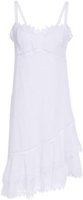 Charo Ruiz Ibiza Asymmetric Crocheted Lace And Cotton-blend Voile Mini Dress