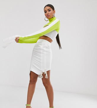 Wesley Harriott midi skirt with ruched side-White