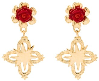 MONDO MONDO Floral-Detail Cross Earrings