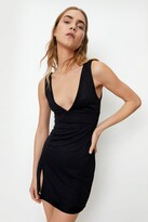 Thumbnail for your product : Nasty Gal Womens Plunging V Neck Slit Front Mini Dress - Black - 14