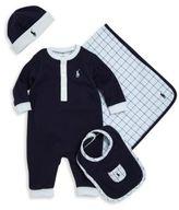 Ralph Lauren Baby's Coverall, Beanie, Bib & Blanket Set